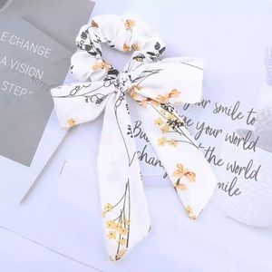 White Floral Hair Bow Scrunchie